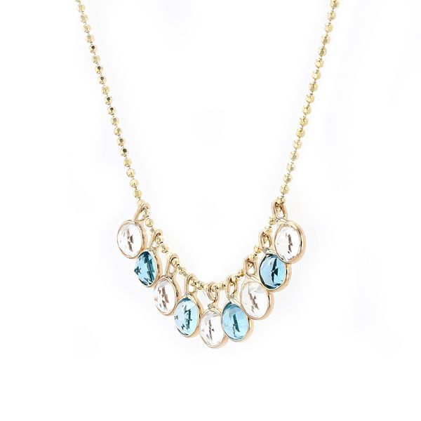 14kt Necklace With Blue And White Dancing Topaz Drops Image 2 La Mine d'Or Moncton, NB