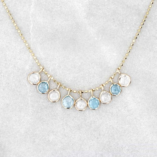 14kt Necklace With Blue And White Dancing Topaz Drops Image 3 La Mine d'Or Moncton, NB