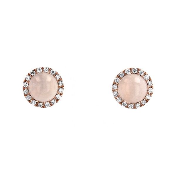 1.26tcw Round White Moonstone Halo Stud Earrings La Mine d Or Moncton, NB