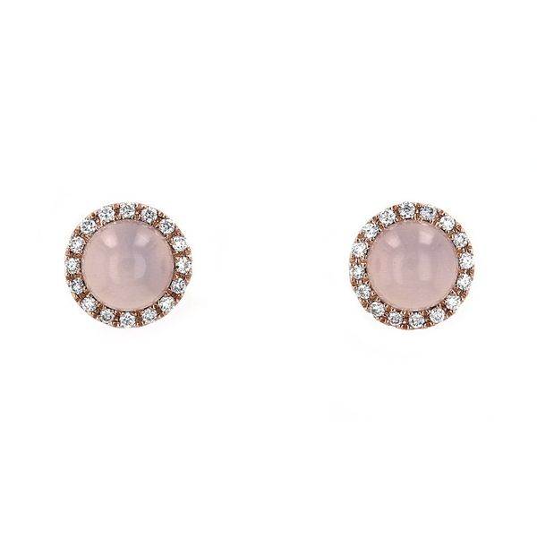 1.28tct Round Pink Agate Halo Stud Earrings La Mine d'Or Moncton, NB