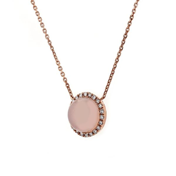 1.75tct Round Pink Agate Halo Necklace Image 2 La Mine d'Or Moncton, NB