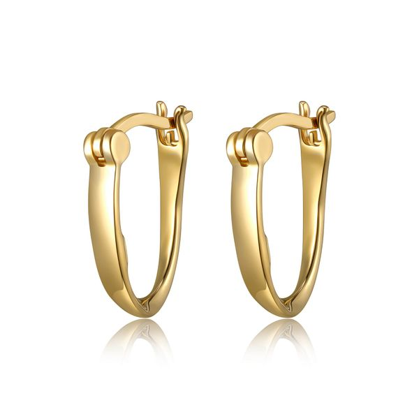 Elle Design Sterling Silver and Yellow Gold Plate Plain Oval Hoops La Mine d'Or Moncton, NB