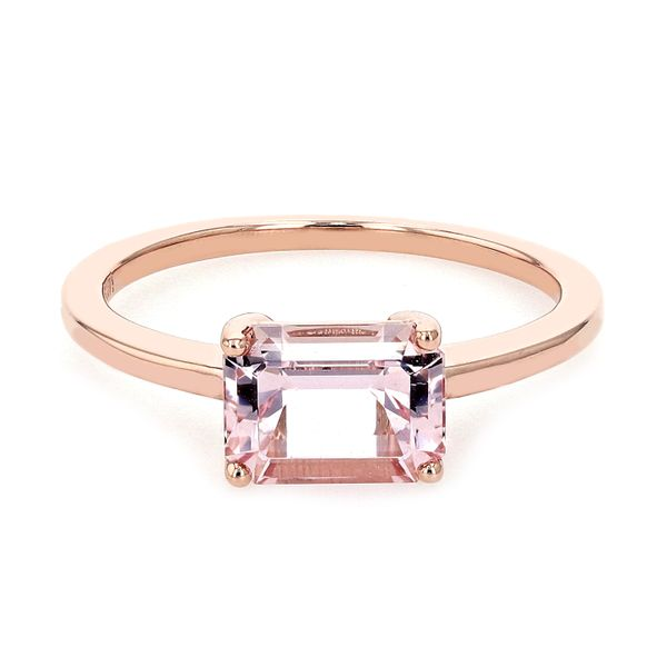 1.40ct Emerald Cut Morganite East-West Solitaire Ring La Mine d'Or Moncton, NB