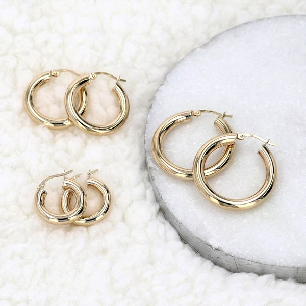 Bella Classic 10kt Yellow Gold Large Hoop Earrings Image 2 La Mine d Or Moncton, NB
