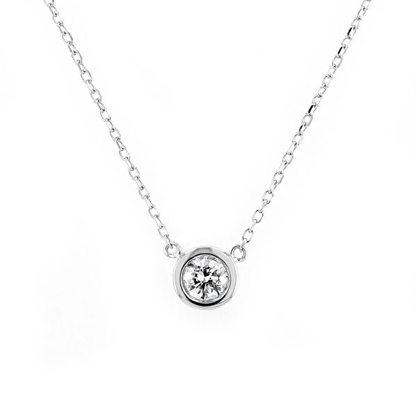 0.22ct Diamond Solitaire Necklace In 14kt White Gold La Mine d'Or Moncton, NB