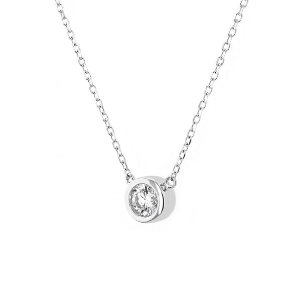 0.22ct Diamond Solitaire Necklace In 14kt White Gold Image 2 La Mine d'Or Moncton, NB