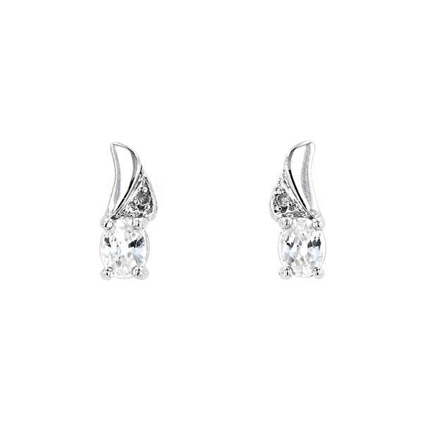 Genuine Zircon Birthstone & Diamond Stud Earrings La Mine d'Or Moncton, NB