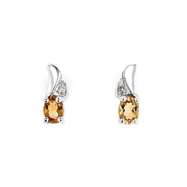 Genuine Citrine Birthstone & Diamond Stud Earrings La Mine d'Or Moncton, NB