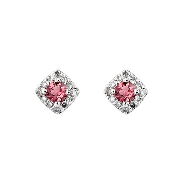 Genuine Pink Tourmaline Birthstone & Diamond Cluster Stud Earrings La Mine d Or Moncton, NB
