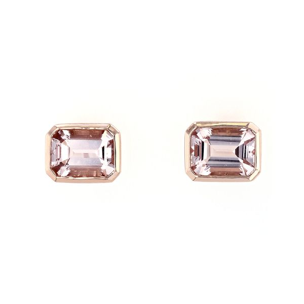 2.80tw Emerald Cut Morganite Solitaire Stud Earrings La Mine d Or Moncton, NB