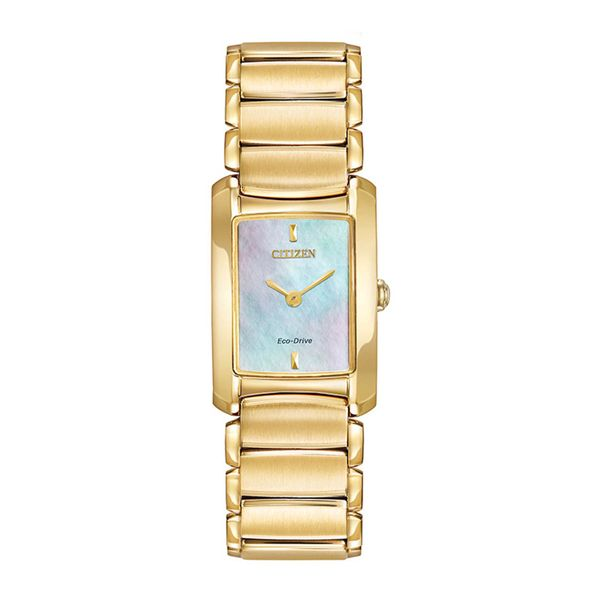Citizen Eco-Drive Goldtone Watch with Rectangular MOP Dial La Mine d'Or Moncton, NB