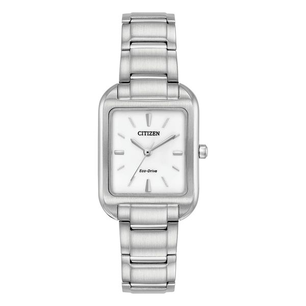 Citizen Eco-Drive Stainless Steel Watch with Square White Dial La Mine d'Or Moncton, NB