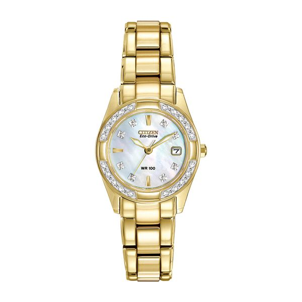 Citizen Eco-Drive Goldtone Watch with Round Mother of Pearl Dial La Mine d'Or Moncton, NB