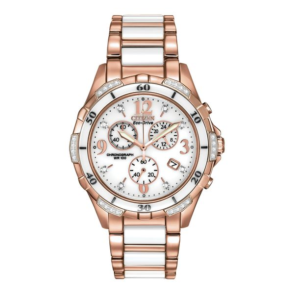 Citizen Eco-Drive Rosetone and White Ceramic with 32 Diamonds on Chronograph Dial La Mine d'Or Moncton, NB