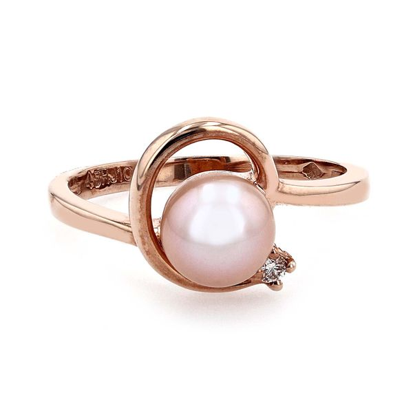 0.03ct Diamond and White Freshwater Pearl Ring set in 10kt Rose Gold La Mine d Or Moncton, NB