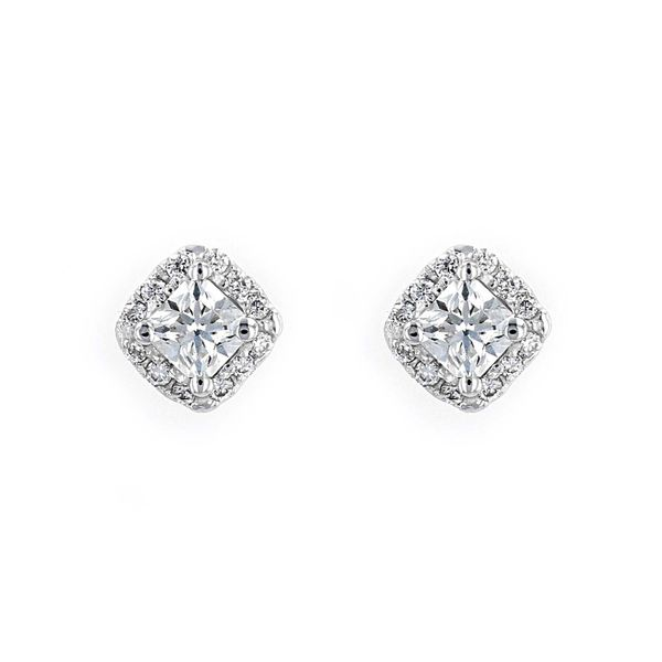 0.41tw Forevermark Diamond Square Cut Halo Stud Earrings La Mine d Or Moncton, NB