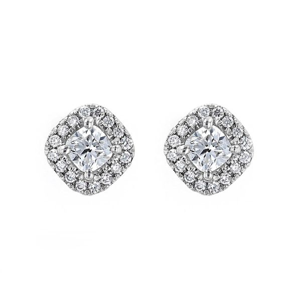 0.61tw Forevermark Diamond Cushion Cut Halo Stud Earrings La Mine d Or Moncton, NB