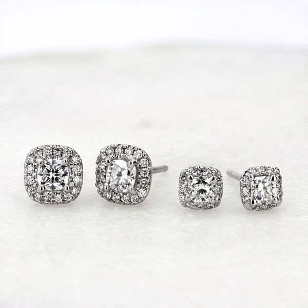 0.61tw Forevermark Diamond Cushion Cut Halo Stud Earrings Image 3 La Mine d Or Moncton, NB