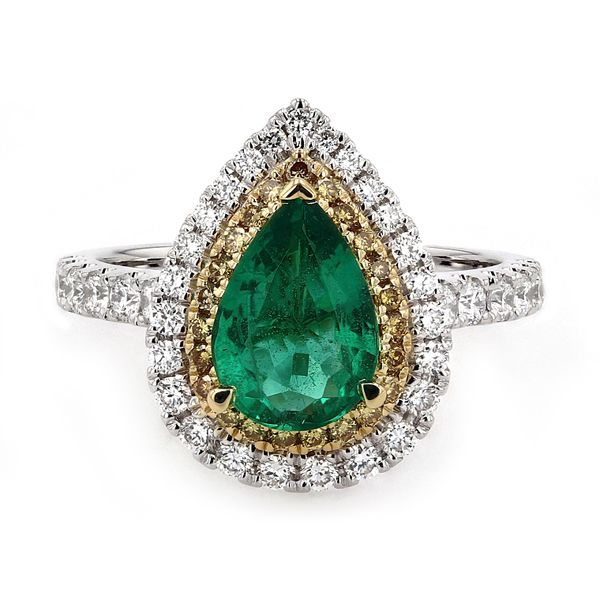 2.01tw Pear Shaped Emerald and Diamond Halo Ring La Mine d Or Moncton, NB