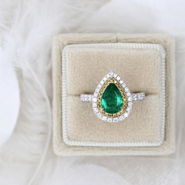 2.01tw Pear Shaped Emerald and Diamond Halo Ring Image 3 La Mine d Or Moncton, NB