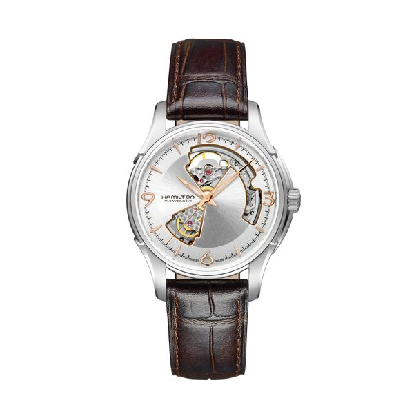 Hamilton Stainless JazzMaster Automatic Open Heart with Brown Strap La Mine d'Or Moncton, NB
