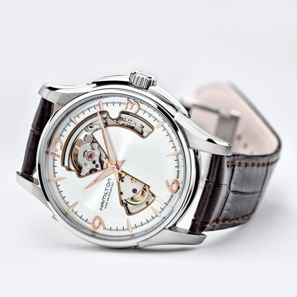 Hamilton Stainless JazzMaster Automatic Open Heart with Brown Strap Image 3 La Mine d'Or Moncton, NB