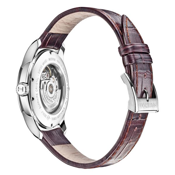 Hamilton Stainless JazzMaster Automatic Open Heart with Brown Strap Image 4 La Mine d'Or Moncton, NB