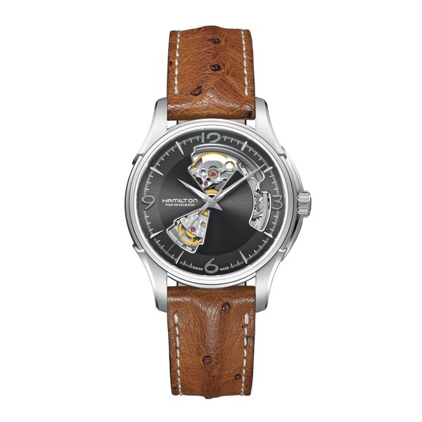 Hamilton Stainless Automatic JazzMaster Open Heart with Tan Strap La Mine d Or Moncton, NB