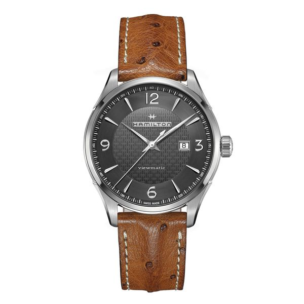 Hamilton Stainless JazzMaster Viewmatic Automatic with Black Dial and Tan Strap La Mine d Or Moncton, NB