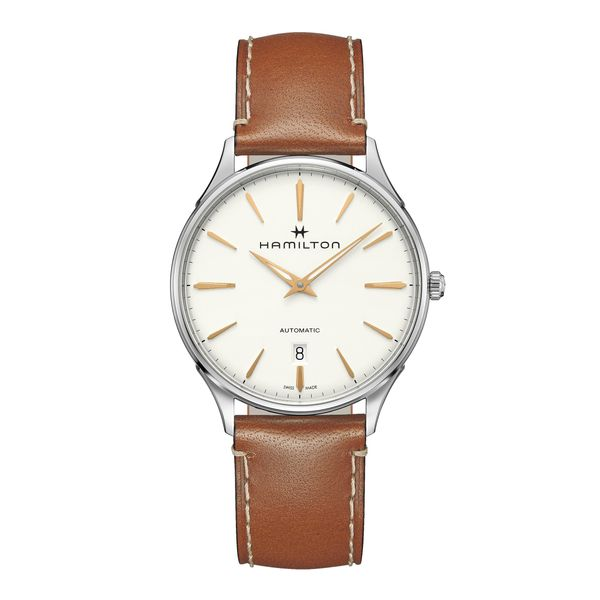Hamilton Stainless JazzMaster Thinline Automatic with Round White Dial and Tan Strap La Mine d'Or Moncton, NB
