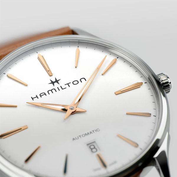 Hamilton Stainless JazzMaster Thinline Automatic with Round White Dial and Tan Strap Image 2 La Mine d'Or Moncton, NB