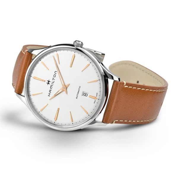Hamilton Stainless JazzMaster Thinline Automatic with Round White Dial and Tan Strap Image 3 La Mine d'Or Moncton, NB