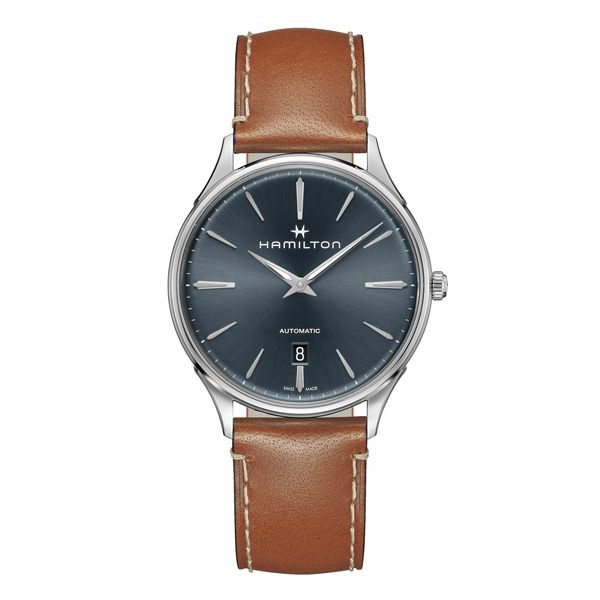 Hamilton Stainless JazzMaster Thinline Automatic with Blue Dial and Tan Strap La Mine d Or Moncton, NB