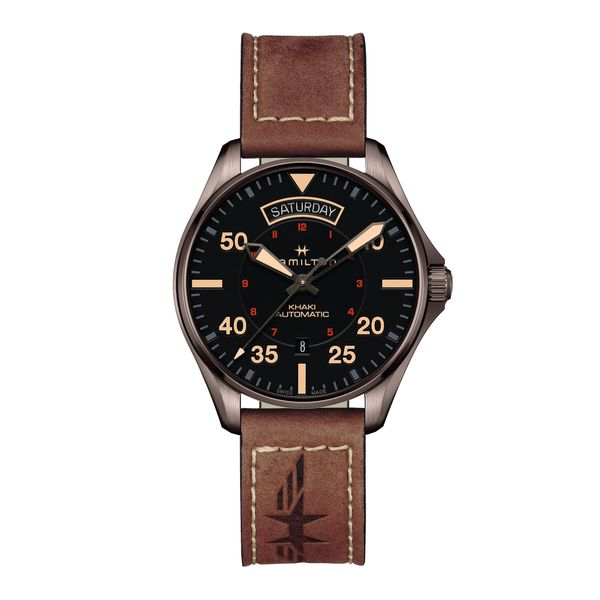 Hamilton PVD Khaki Aviation Day Date Automatic with Round Black Dial and Tan Strap La Mine d'Or Moncton, NB
