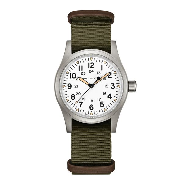 Hamilton Stainless Khaki Field Mechanical with Round White Dial and Khaki Strap La Mine d Or Moncton, NB