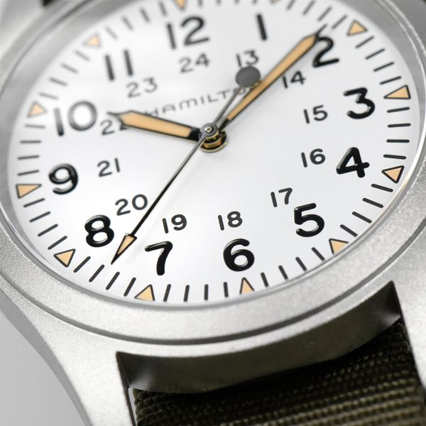 Hamilton Stainless Khaki Field Mechanical with Round White Dial and Khaki Strap Image 4 La Mine d Or Moncton, NB