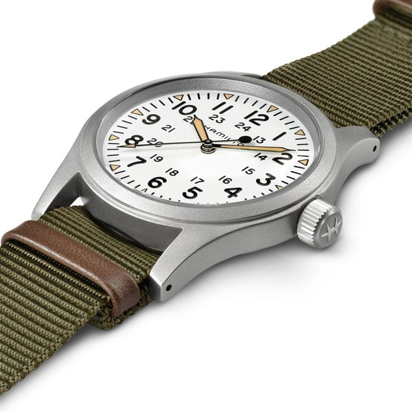 Hamilton Stainless Khaki Field Mechanical with Round White Dial and Khaki Strap Image 5 La Mine d Or Moncton, NB