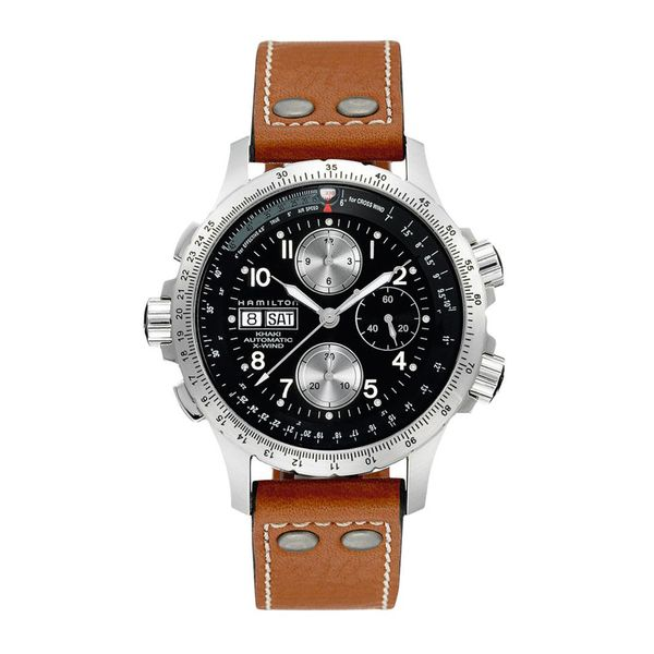 Hamilton Stainless Khaki Aviation X-Wind Automatic Chrono with Round Black Dial and Tan Strap La Mine d'Or Moncton, NB