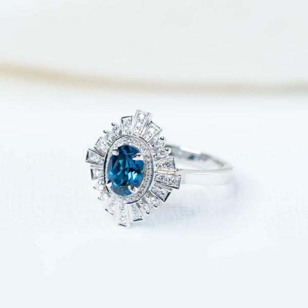 2.36tcw Oval Shape London Blue Topaz & Diamond Victorian Style Ring Image 3 La Mine d'Or Moncton, NB