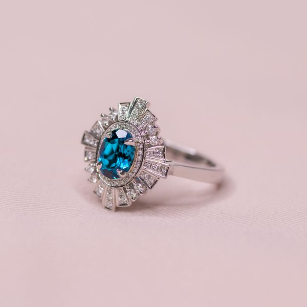 2.36tcw Oval Shape London Blue Topaz & Diamond Victorian Style Ring Image 4 La Mine d'Or Moncton, NB