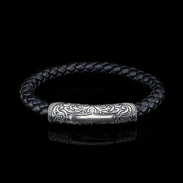 William Henry Milan-Silver/Black Bracelet with Custom Braided Leather La Mine d'Or Moncton, NB