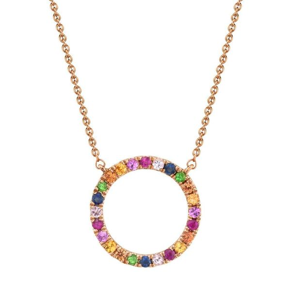 0.29tw Multi Color Gemstone Circle Necklace 14kt Rose Gold La Mine d Or Moncton, NB