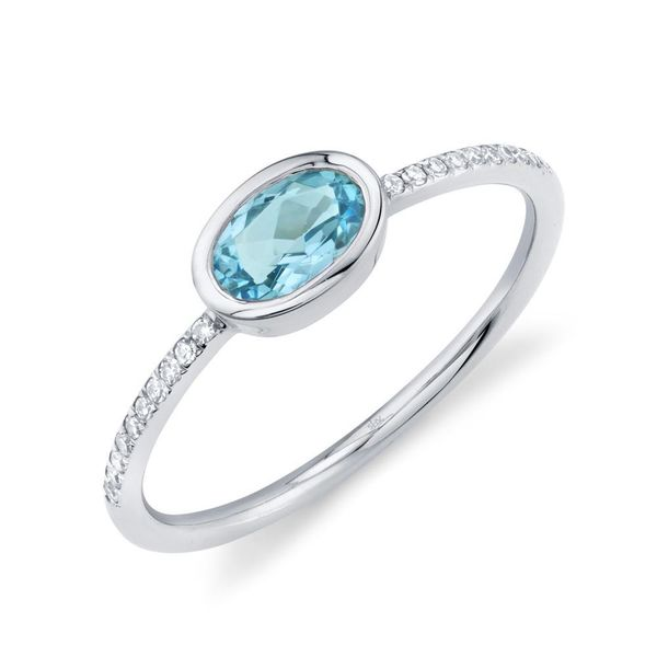 0.59tw Ova Blue Topaz Ring in White Gold with Diamonds La Mine d Or Moncton, NB