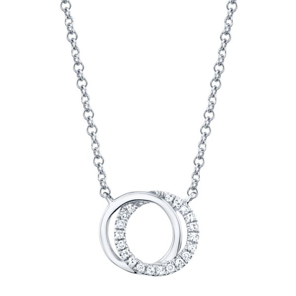 0.07tw Diamond Love Knot Circle Necklace 14kt White Gold La Mine d Or Moncton, NB