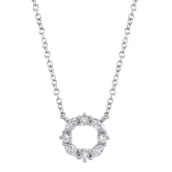 0.20tw Marquise & Round Diamond Circle Necklace 14kt White Gold La Mine d Or Moncton, NB