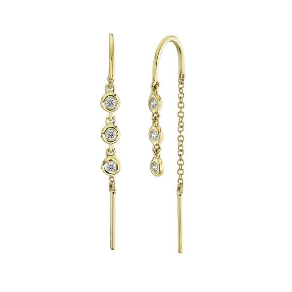 0.11tw Diamond Threader Earrings 14kt Yellow Gold La Mine d Or Moncton, NB