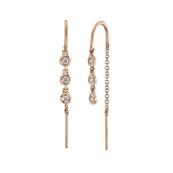 0.11tw Diamond Threader Earrings 14kt Rose Gold La Mine d Or Moncton, NB