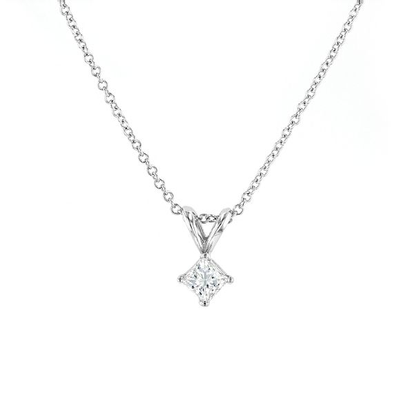"0.25ct Lumina Diamond Princess Solitaire Pendant, 18"" Chain La Mine d'Or Moncton, NB"