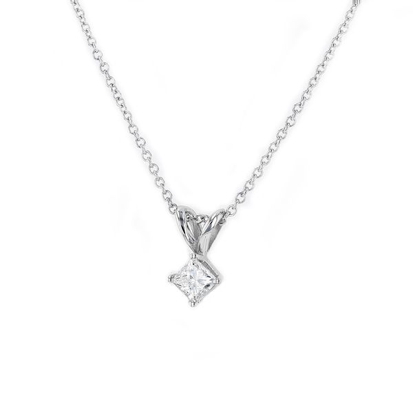 "0.25ct Lumina Diamond Princess Solitaire Pendant, 18"" Chain Image 2 La Mine d'Or Moncton, NB"