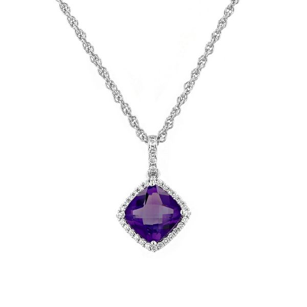 1.32tw Cushion Cut Amethyst & Diamond Pendant La Mine d'Or Moncton, NB